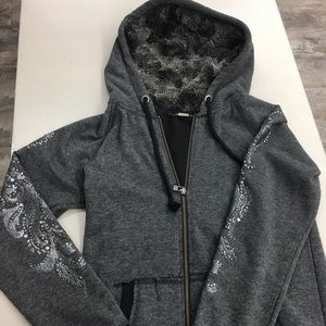 Missme bedazzled zip down faux fur hoodie